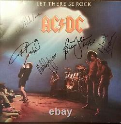 AC/DC Band Signed x5 LP Record Album with COA
