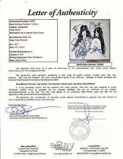 AEROSMITH Full Band STUNNING Signed Draw The Line Album LP Vinyl JSA LOA #Y03582