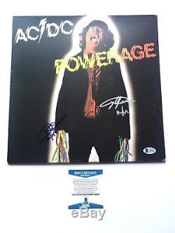 Angus Young signed AC/DC Powerage album cover & Cliff Williams Beckett BAS Cert