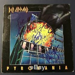 Def Leppard Hand Signed Pyromania Vinyl Album Record Full Band Autographed Coa