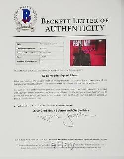 EDDIE VEDDER Signed Autographed PEARL JAM Ten Album LP Beckett BAS #A16309