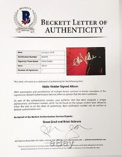EDDIE VEDDER Signed Autographed PEARL JAM Ten Album LP Beckett BAS #A85478