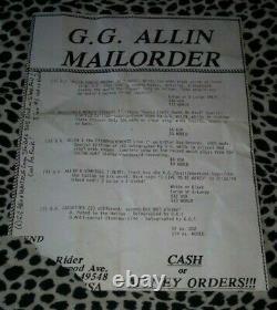 Gg Allin Original Letter Signed 1993 Rare Punk Kbd Misfits Occult Records