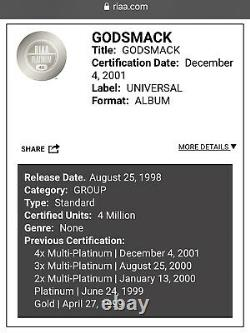 Godsmack Debut Album RIAA Gold Record Award & Autographed Letter Signed Sully