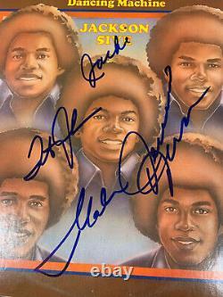 Jackson 5 Five Tito/jermaine/jackie Hand Signed X4 Dancing Machine Album Jsa/coa