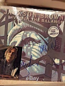 Jackson Browne hand signed record album with David Lindley autographed