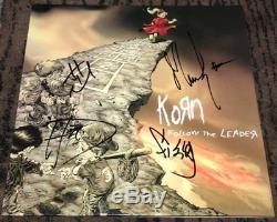 KORN SIGNED AUTOGRAPH FOLLOW THE LEADER ALBUM JONATHAN DAVIS +3 withEXACT PROOF