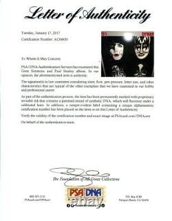 Kiss Dynasty Simmons Stanley Signed Autographed Record Album LP PSA/DNA COA