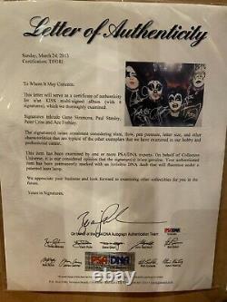 Kiss Signed Self-titled Album Nice Framed With Sckull Psa/dna