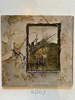 Led Zeppelin IV Signed By All 4 Band Members Lp Vinyl Album Autographed C. O. A