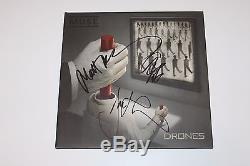 MUSE BAND SIGNED'DRONES' ALBUM VINYL RECORD withCOA MATT BELLAMY X3 DOM CHRIS