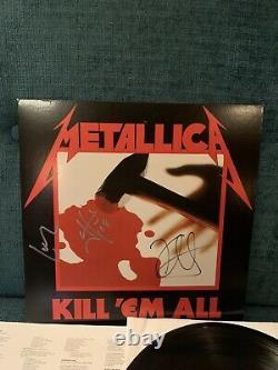 Metallica KILL EM ALL Autographed By 3 Album LP Cover Vinyl Guarantee 100%