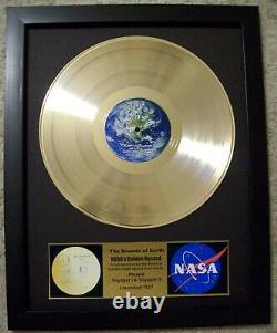 NASA Voyager 1 and 2 Gold Golden Record Album Disc + Plaque in Frame