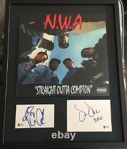 N. W. A Ice Cube & Dr. Dre Signed Autograph Framed Album Cut Display Beckett Nwa