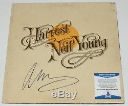 Neil Young Signed'harvest' Vinyl Album Record Lp Csny Proof Beckett Bas Coa