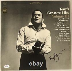 Tony Bennett Signed Record Album Cover PSA/DNA COA Autographed Greatest Hits III